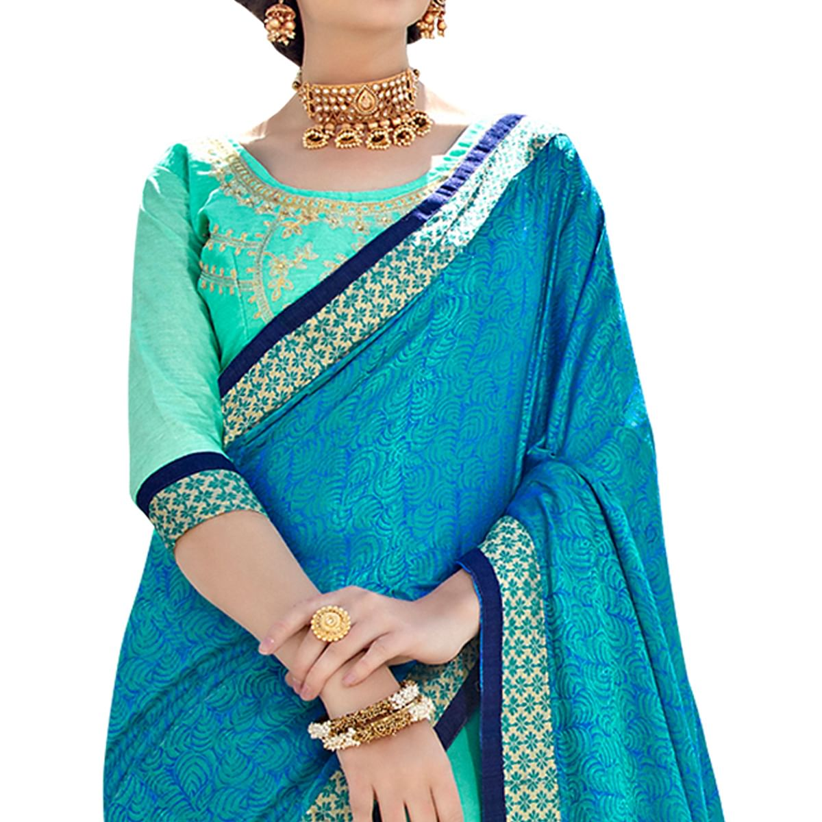 Refreshing Blue-Aqua Blue Colored Partywear Embroidered Art Silk Half-Half Saree