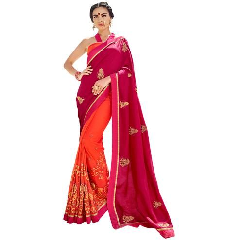 Mesmeric Pink-Orange Colored Partywear Embroidered Silk-Georgette Half-Half Saree