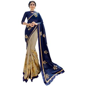 Staring Navy Blue-Gray Colored Partywear Embroidered Silk-Georgette Half-Half Saree
