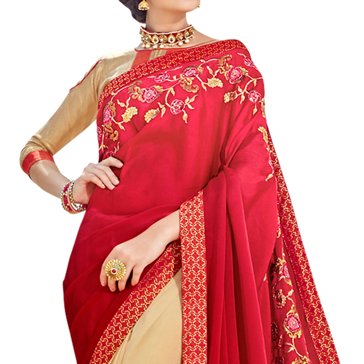 Traditional Red-Beige Colored Partywear Embroidered Georgette Half-Half Saree