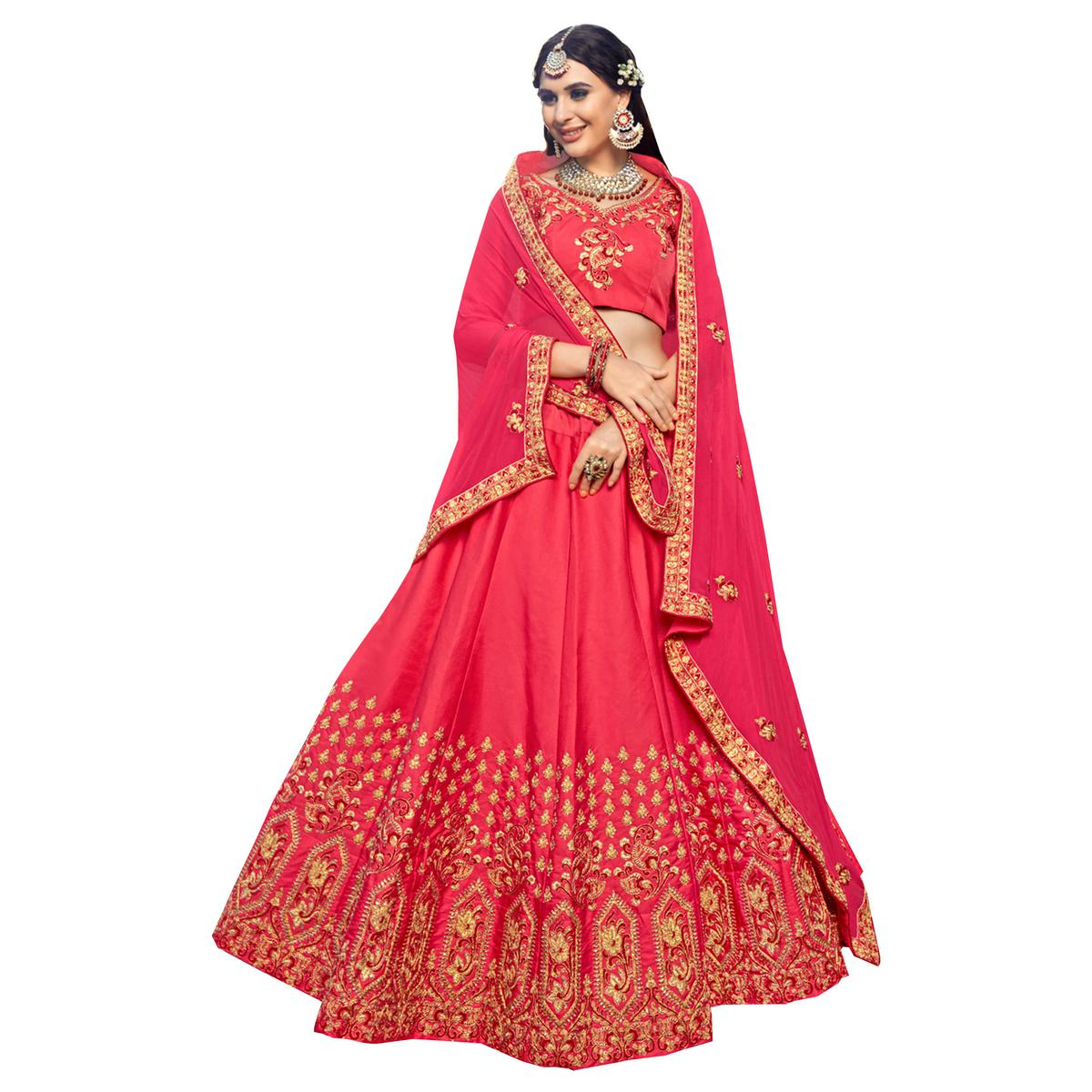 9cc6507497 Buy Charming Pink Colored Partywear Embroidered Heavy Silk Lehenga Choli  for womens online India, Best Prices, Reviews - Peachmode