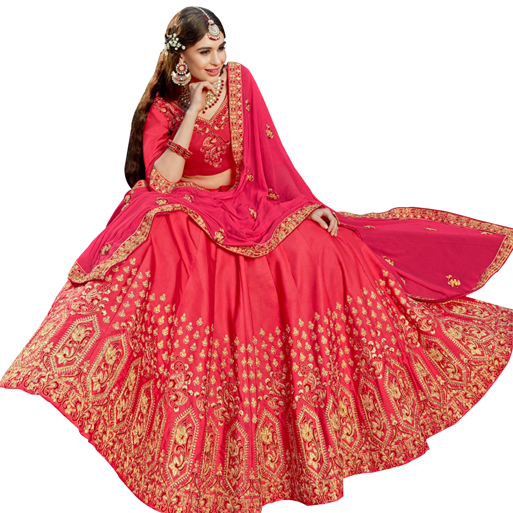 Charming Pink Colored Partywear Embroidered Heavy Silk Lehenga Choli