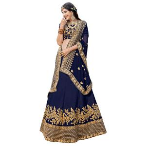 Desiring Navy Blue Colored Partywear Embroidered Heavy Silk Lehenga Choli