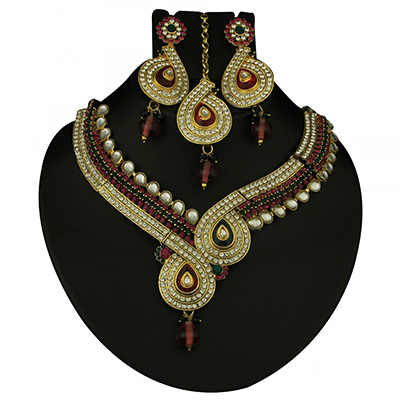 Kundan Purple & Green Austrian Stone Meenakari Gold Finish Necklace Sets With Maang Tikka