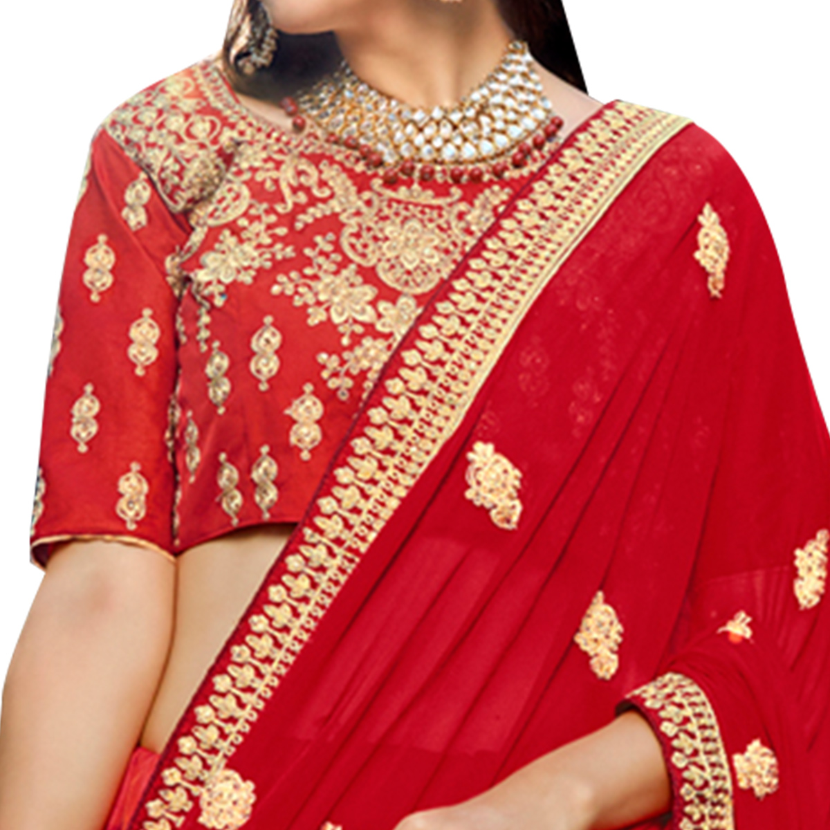 Glowing Red Colored Partywear Embroidered Heavy Silk Lehenga Choli