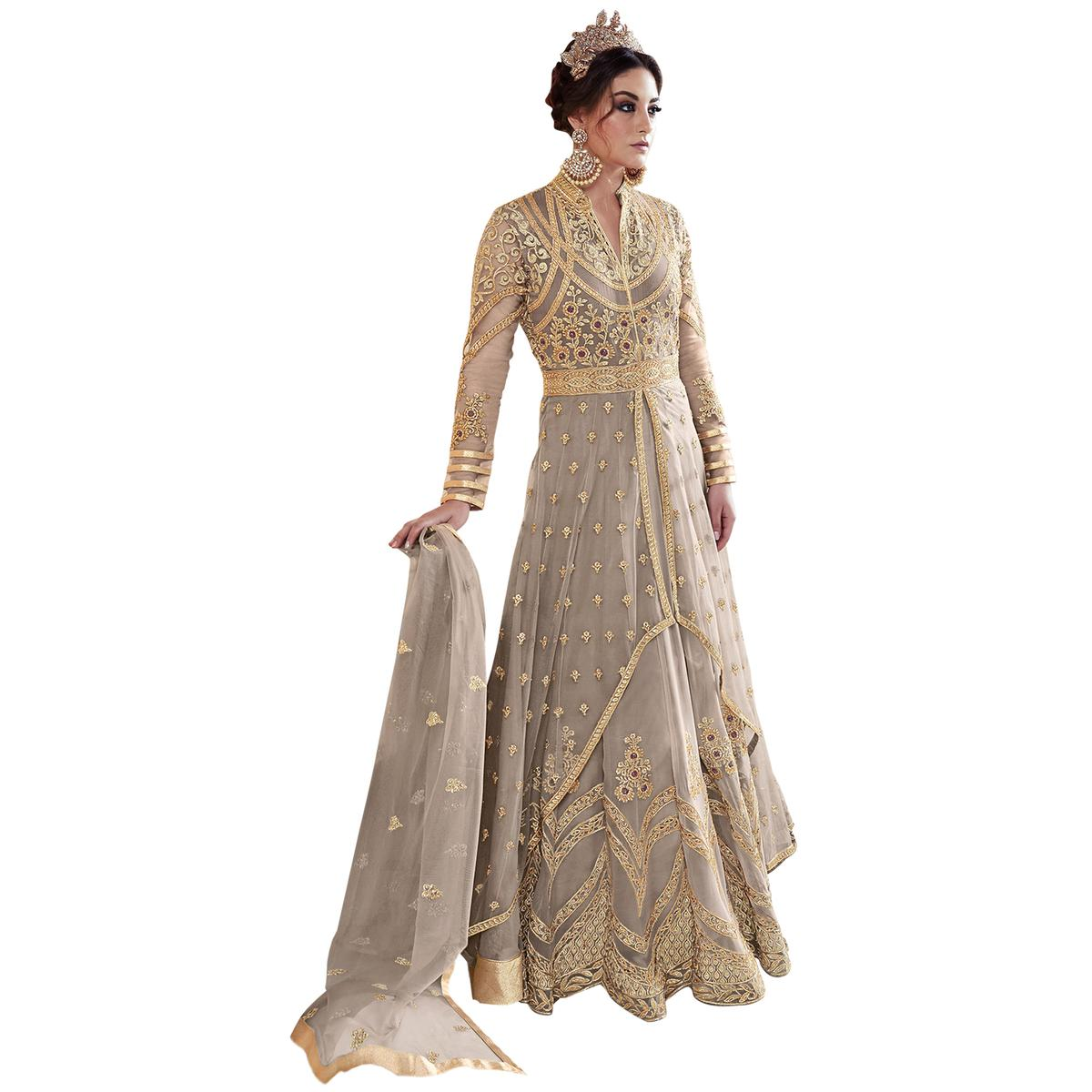 Attractive Gray Colored Partywear Embroidered Georgette-Net Anarkali Suit