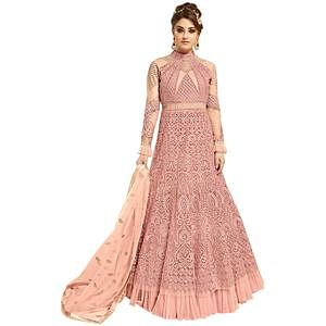 Staring Light Pink Colored Partywear Embroidered Netted Lehenga Kameez