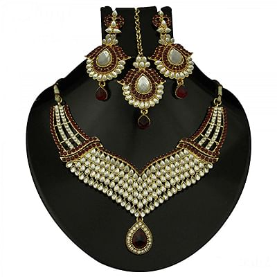 Kundan Maroon Austrian Stone Gold Finish Necklace Sets With Maang Tika