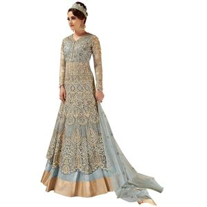 Flattering Gray Colored Partywear Embroidered Netted Lehenga Kameez