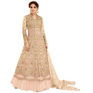 Appealing Peach Colored Partywear Embroidered Georgette Lehenga Kameez