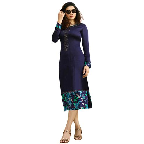 Navy Blue Colored Printed Partywear Satin Kurti