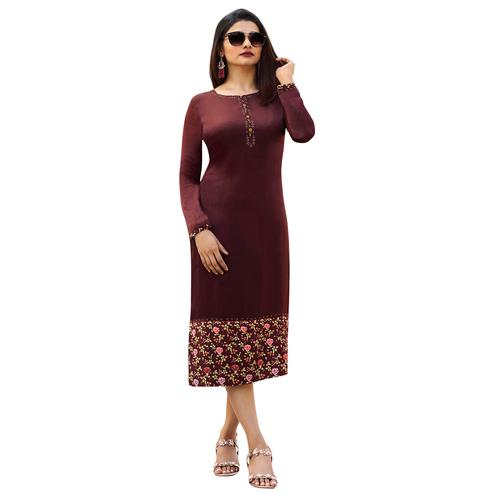 Staring Wine Colored Printed Partywear Satin Kurti