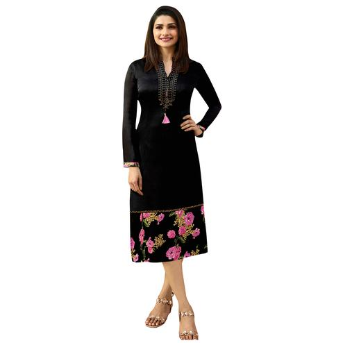 Flaunt Black Colored Printed Partywear Satin Kurti