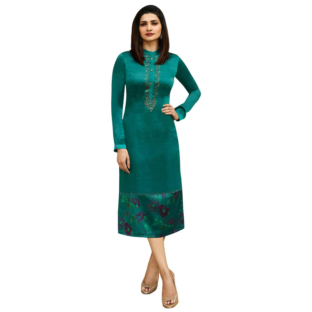 Fantastic Turquoise Green Colored Printed Partywear Satin Kurti