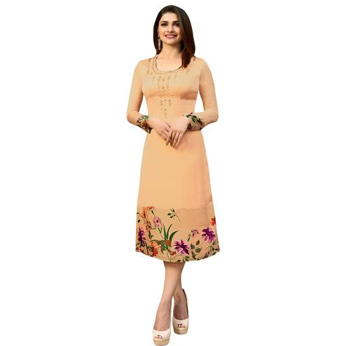 Appealing Beige Colored Printed Partywear Satin Kurti