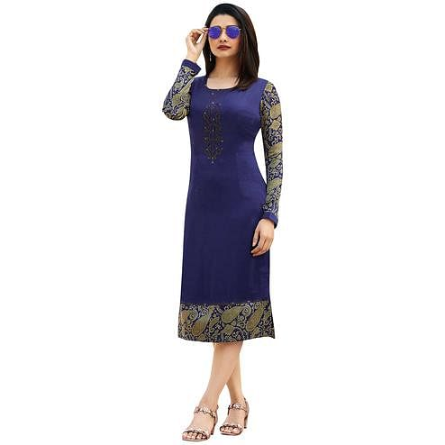 Glowing Blue Colored Printed Partywear Satin Kurti