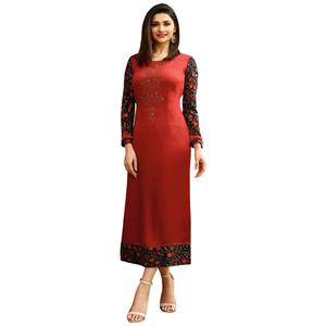 Trendy Red Colored Printed Partywear Satin Kurti