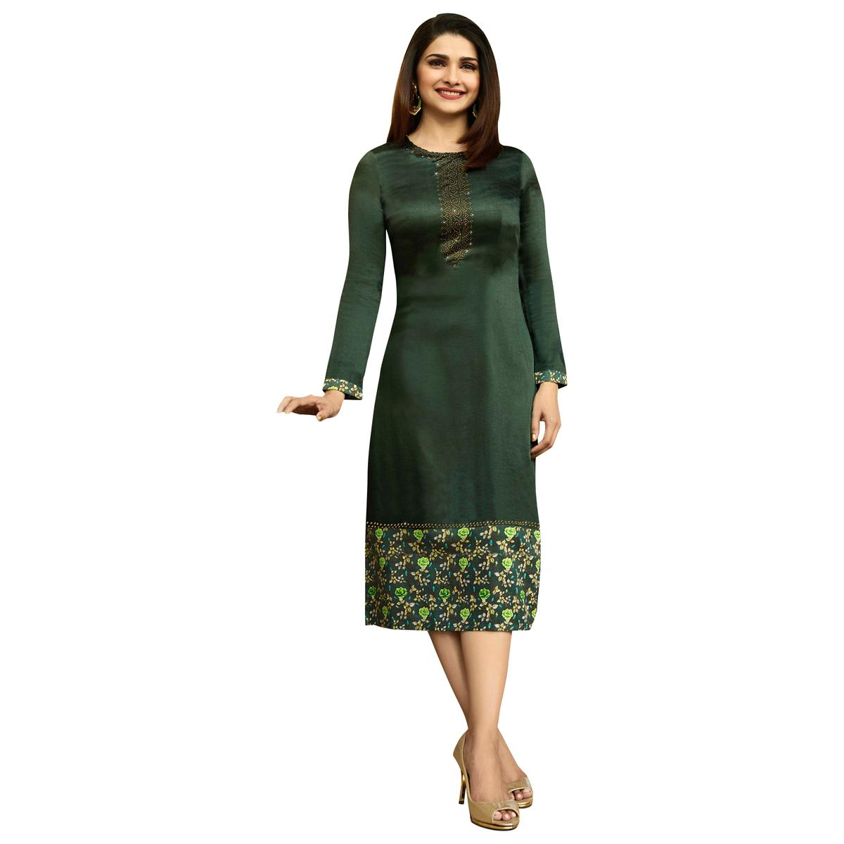 Gorgeous Dark Green Colored Printed Partywear Satin Kurti