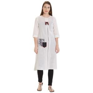 Appealing White Colored Casual Printed Cotton Kurti
