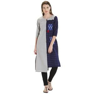 Different Gray-Navy Blue Colored Casual Printed Cotton Kurti