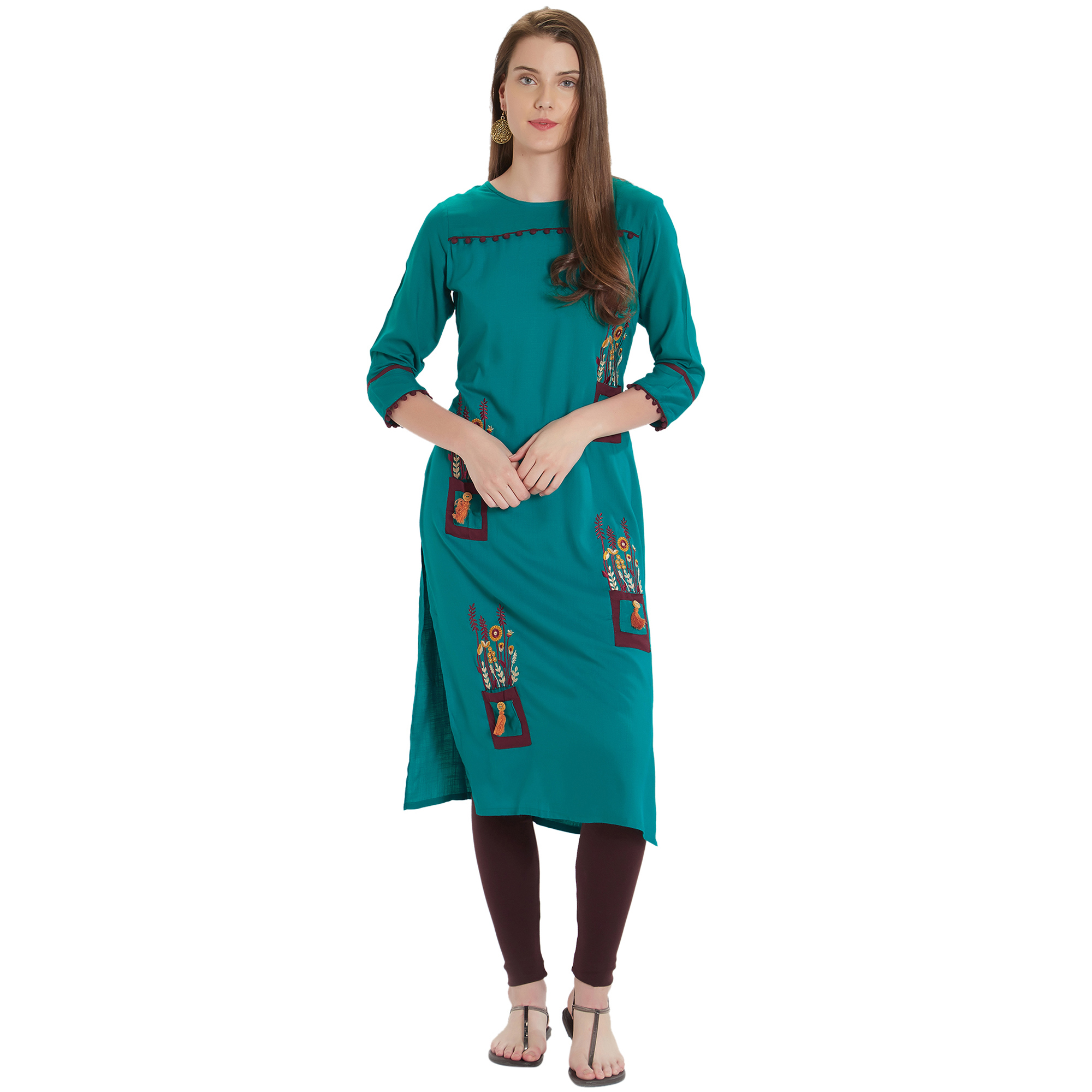 Blooming Turquoise Green Colored Embroidered Cotton Kurti