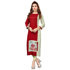 Trendy Maroon Colored Casual Printed Rayon Cotton Long Kurti