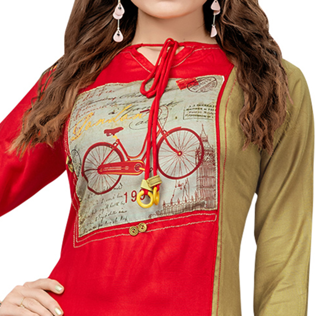 Jazzy Red Colored Casual Printed Rayon Cotton Long Kurti
