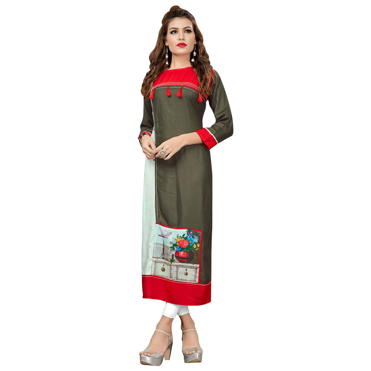 Unique Dark Olive Green Colored Casual Printed Rayon Cotton Long Kurti