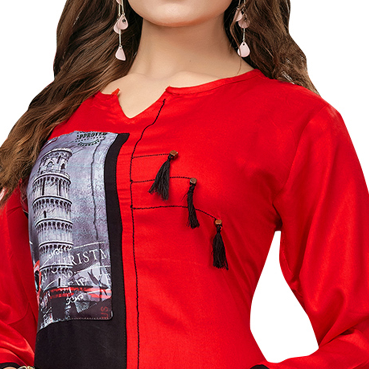 Gleaming Red-Black Colored Casual Printed Rayon Cotton Long Kurti