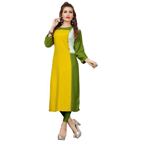 Staring Yellow-Green Colored Casual Wear Rayon Cotton Long Kurti