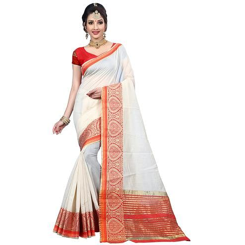 Pleasant White Colored Festive Wear Woven Cotton Saree