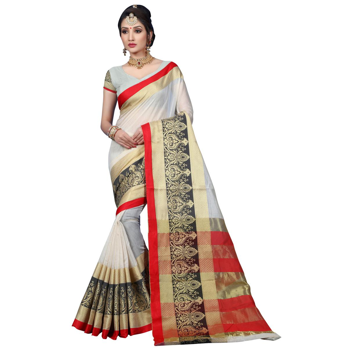 Classy White Colored Festive Wear Woven Cotton Saree