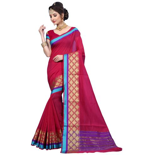 Stunning Pinkish Red Colored Festive Wear Woven Cotton Saree