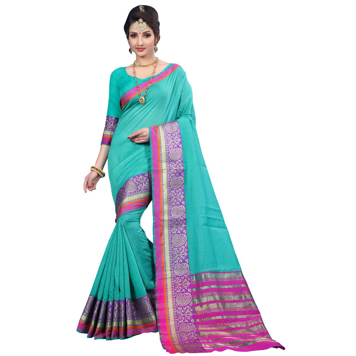 Blooming Turquoise Green Colored Festive Wear Woven Cotton Saree