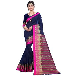 Amazing Navy Blue Colored Festive Wear Woven Cotton Saree