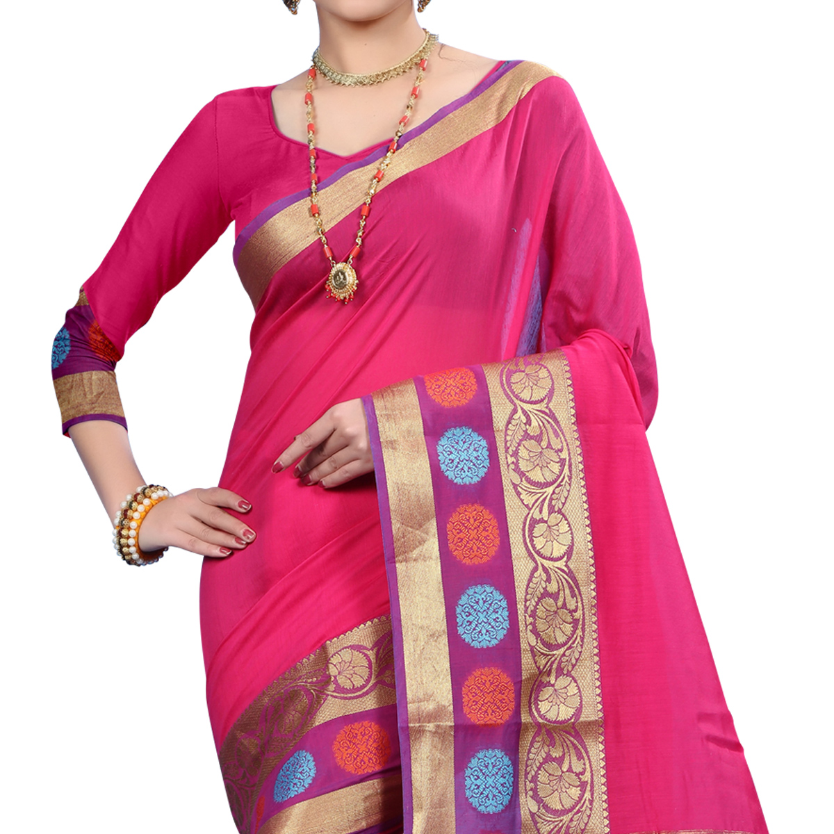 Charming Pink Colored Festive Wear Woven Cotton Saree