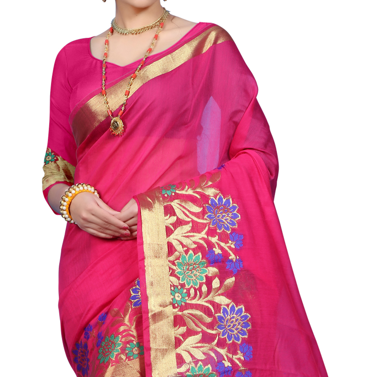 Staring Pink Colored Festive Wear Woven Cotton Saree