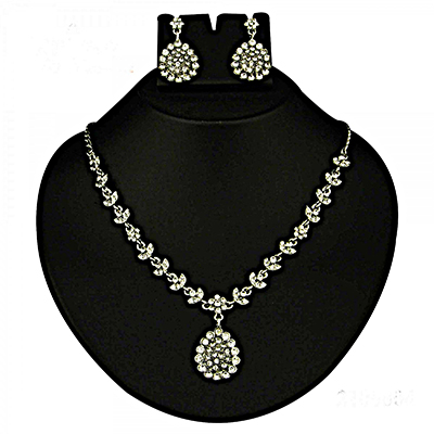 Austrian Stone Rhodium Finish Necklace Sets