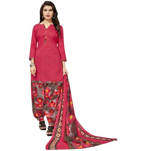 Pleasant Light Red Colored Casual Printed Cotton Dress Material