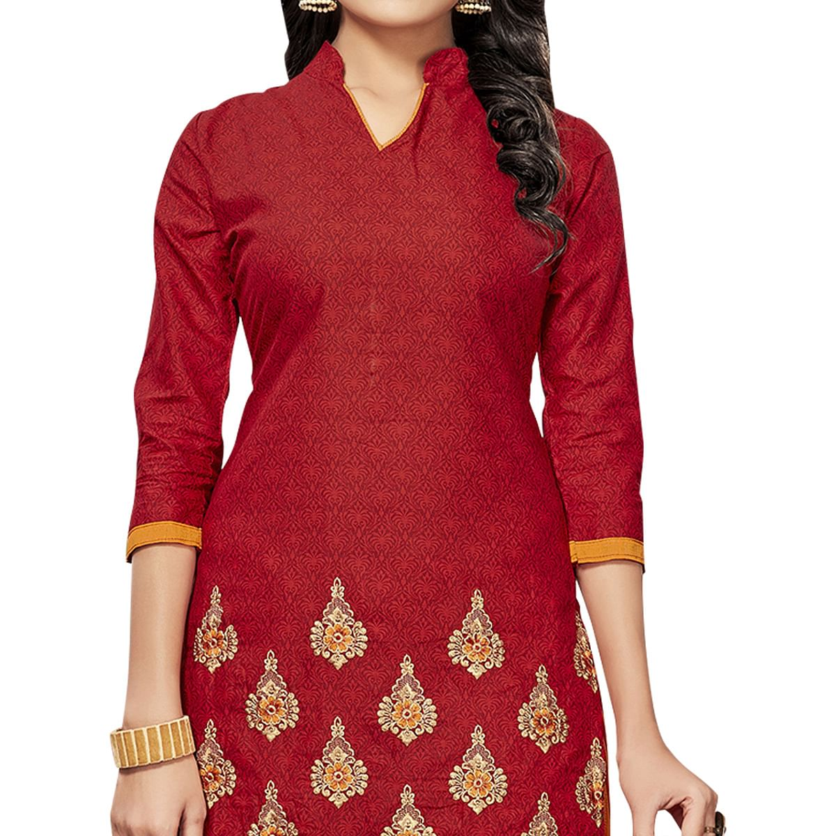 Glowing Red Colored Embroidered Cotton Dress Material