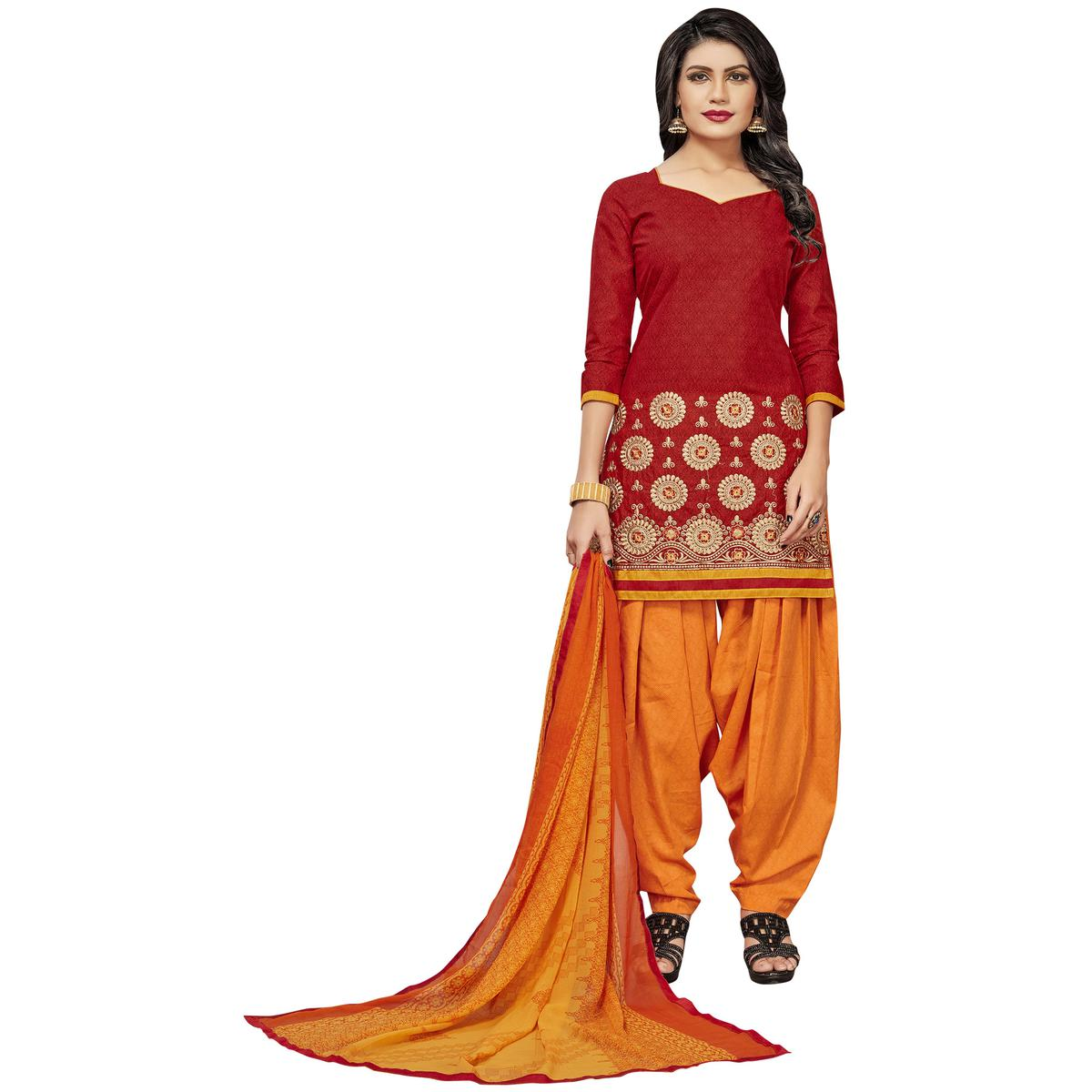 Groovy Red Colored Embroidered Cotton Dress Material