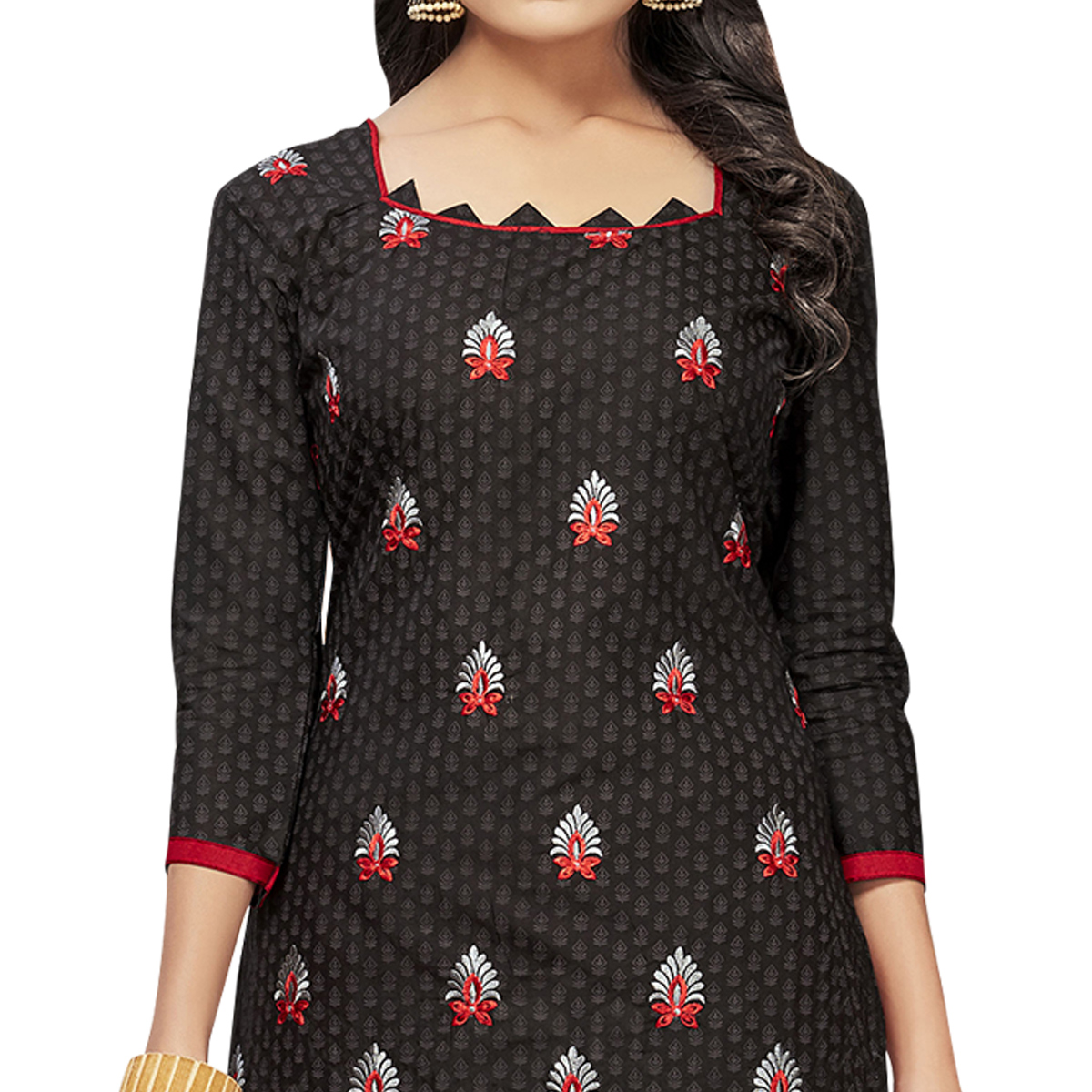 Blooming Black Colored Embroidered Cotton Dress Material