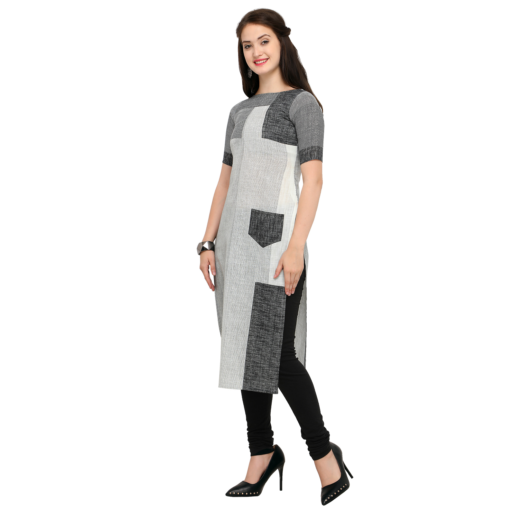 Trendy Gray Colored Casual Wear Cotton Kurti