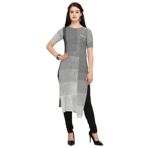Attractive Gray Colored Casual Wear Cotton Kurti