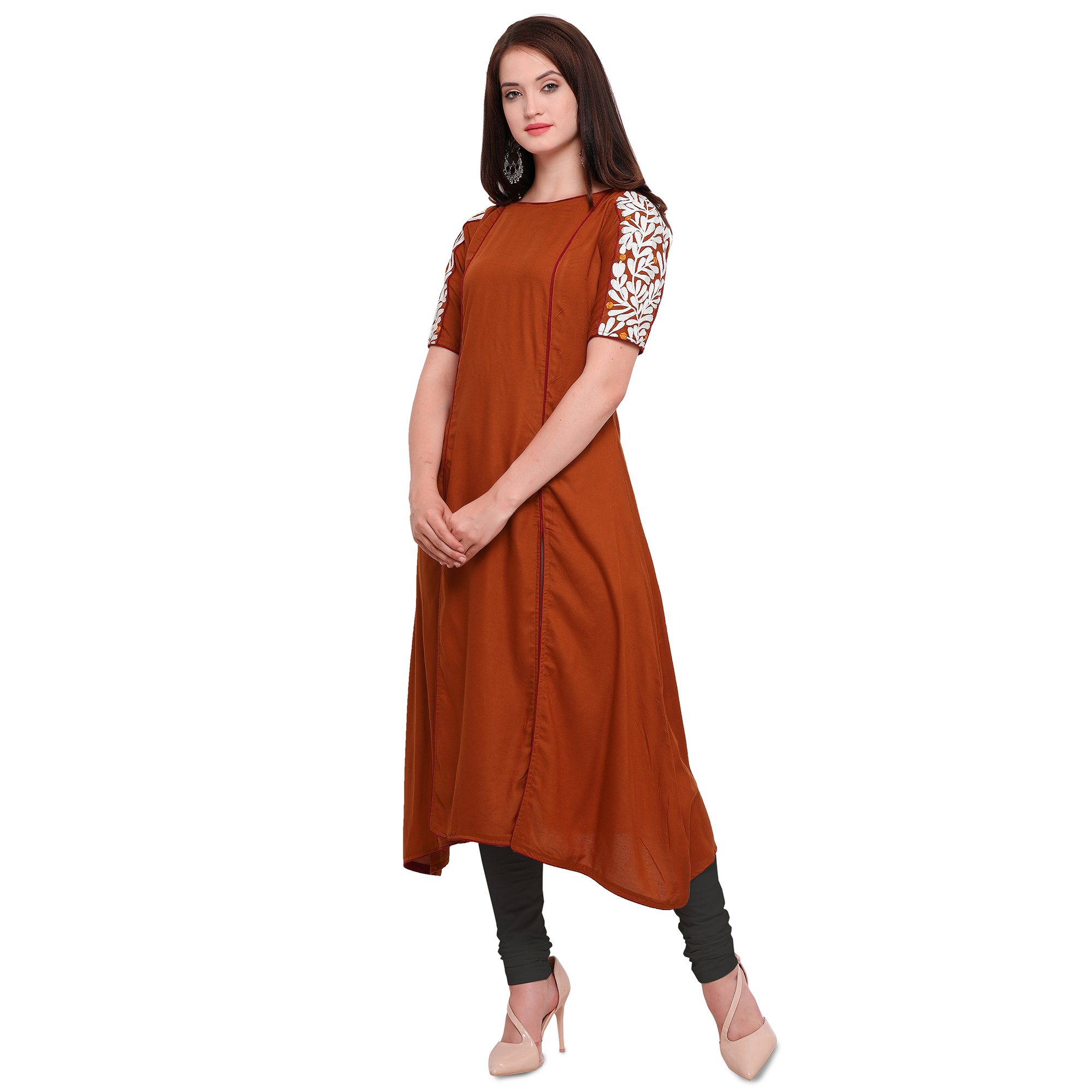Different Rust Orange Colored Embroidered Cotton Kurti
