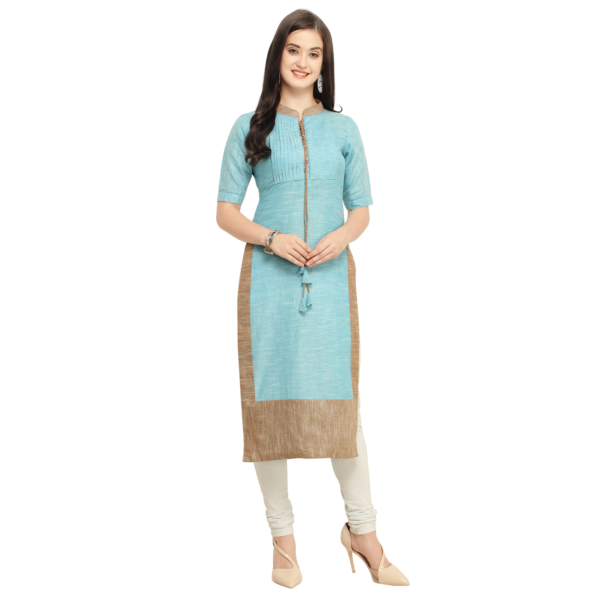 Pleasant Aqua Blue Colored Casual Wear Cotton Kurti