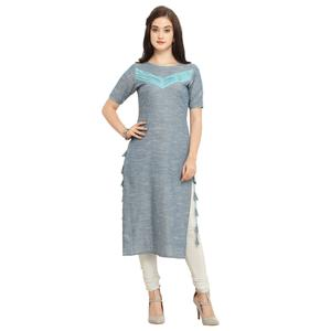 Stylish Gray Colored Casual Wear Cotton Kurti