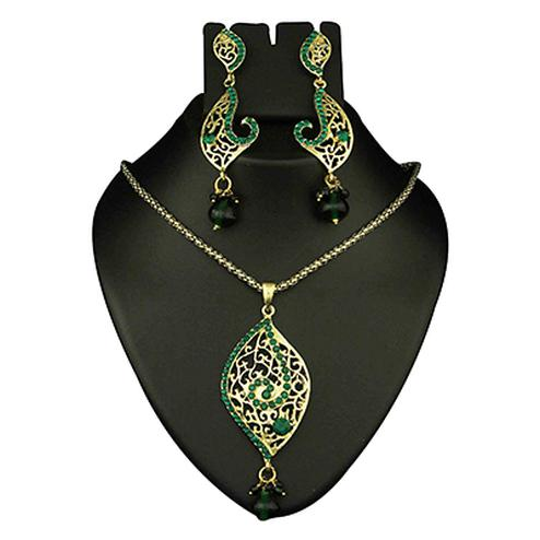 Green Austrian Stone Drop Gold Finish Pendant Sets