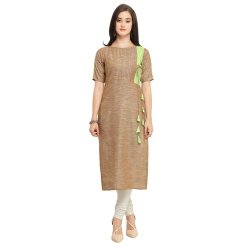 Beautiful Beige Colored Casual Wear Cotton Kurti