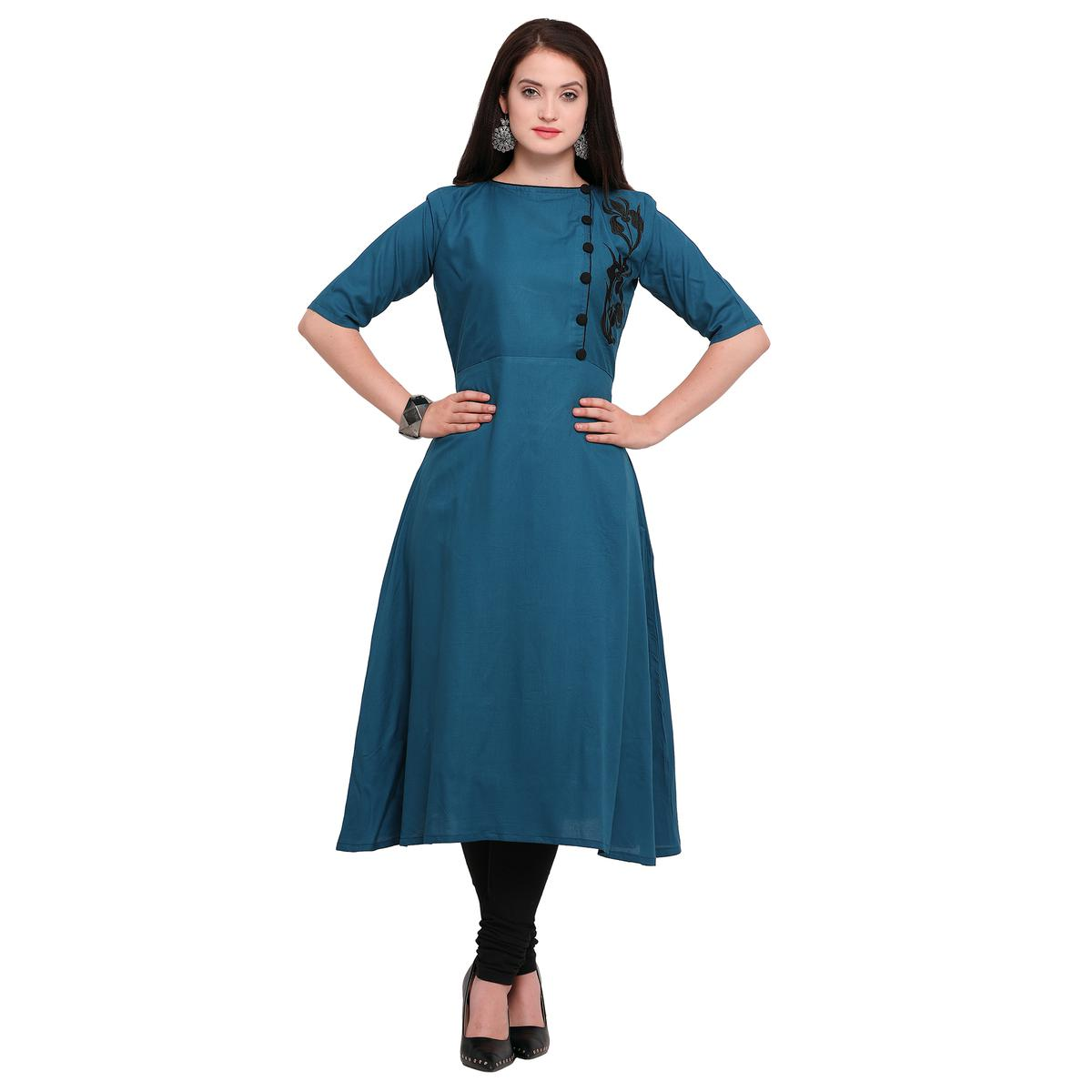 Blooming Blue Colored Embroidered Cotton Kurti